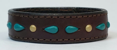 "Cosmic Leather Cuff - STONED LEATHER - Stellar Burst - Chocolate - 3/4"" W"