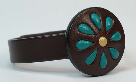 Cosmic Leather Cuff - STONED LEATHER - Floral Cluster Medallion - Chocolate - 1/2""