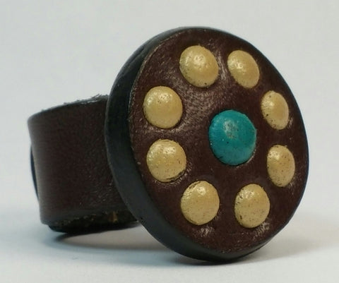 Cosmic Leather Ring - STONED LEATHER - Chocolate