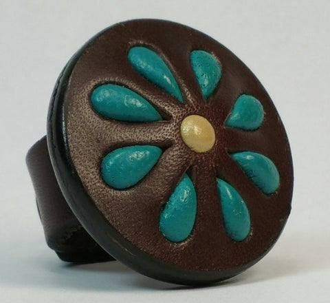 Cosmic Leather Ring - STONED LEATHER - FLORAL CLUSTER - Chocolate