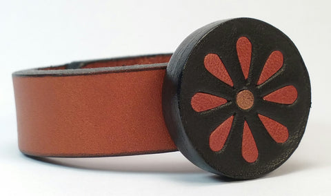 Cosmic Leather Cuff - FLORALCLUSTER MEDALLION w/ Inlays - Chestnut and Black