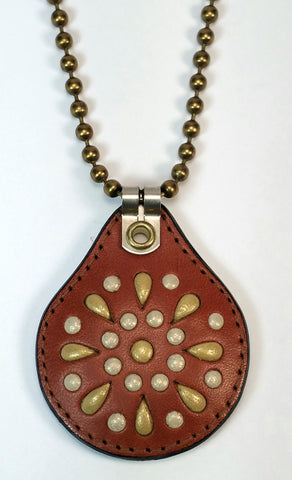 Cosmic Leather Necklace - STONED LEATHER - STELLAR BURST - Chestnut