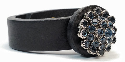 Cosmic Leather Cuff - VINTAGE STAR COLLECTION - Czech Rhinestones - Black - 3/4""