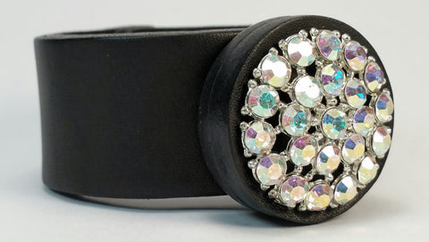"Cosmic Leather Cuff - VINTAGE STAR COLLECTION - Aurora Borealis Rhinestones - Black - 1 1/4"" W"