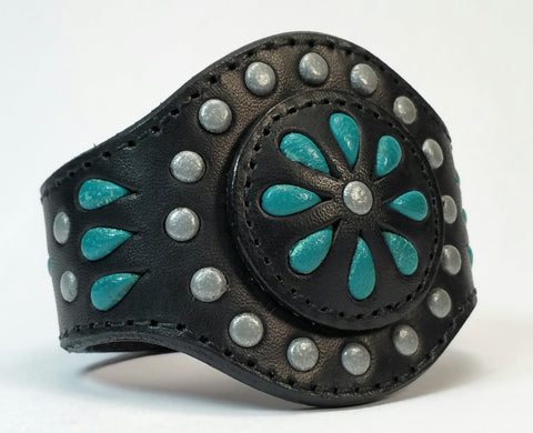 "Cosmic Leather Cuff -  STONED LEATHER - Floral Cluster - Black - 2 1/8"" - Stacked"