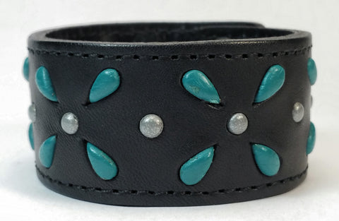 "Cosmic Leather Cuff -  STONED LEATHER - Stellar Burst - Black - 1 1/4"" W"