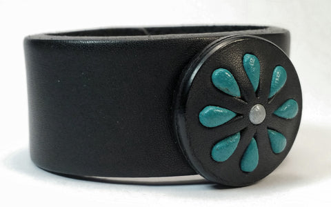 "Cosmic Leather Cuff - STONED LEATHER - Floral Cluster Medallion - Black - 1 1/4"" W"