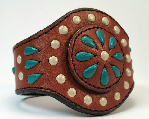 "Cosmic Leather Cuff -  STONED LEATHER - Floral Cluster - Chestnut - 2 1/8"" - Stacked"