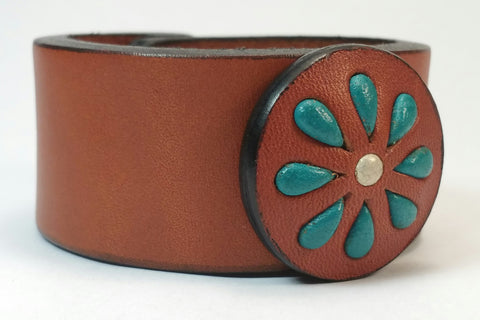 "Cosmic Leather Cuff - STONED LEATHER - Floral Cluster Medallion - Chestnut - 1 1/4"" W"