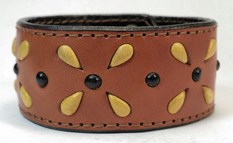 "Cosmic Leather Cuff -  STONED LEATHER - Stellar Burst - Chestnut - 1 1/4"" W"