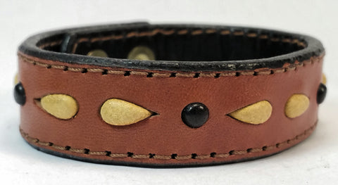 "Cosmic Leather Cuff - STONED LEATHER - Stellar Burst - Chestnut - 3/4"" W"