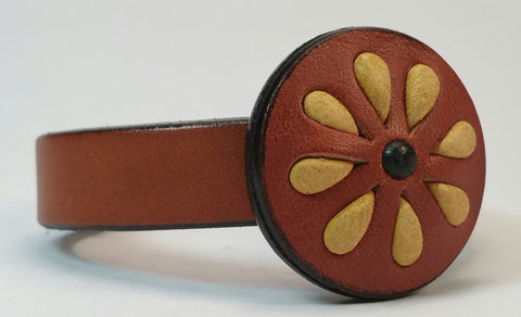 "Cosmic Leather Cuff - STONED LEATHER - Floral Cluster Medallion - Chestnut - 1/2"" W"