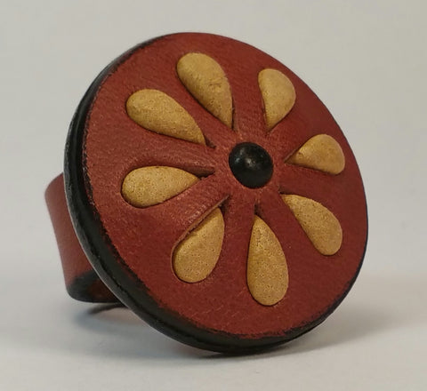 Cosmic Leather Ring - STONED LEATHER - FLORAL CLUSTER - Chestnut