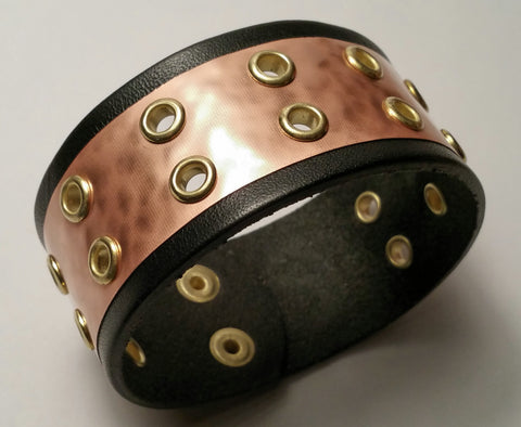 "Cosmic Leather Cuff - COPPER w/ small brass eyelets - 1 1/4"" W"