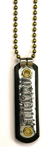 Custom COSMIC IMPRESSION Leather Necklace - Small - ONE WORD - SN1 - ONE PLATE