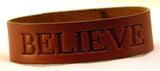 "Custom Branded Cosmic Leather IMPRESSION BRACELET - NBB - Narrow 3/4"" W - ONE WORD"
