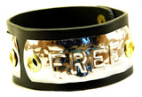 "Custom COSMIC IMPRESSION Leather Bracelet - TWO WORDS - WB2 - Wide 1 1/4"" - TWO PLATES"