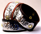 "Custom COSMIC IMPRESSION Leather Bracelet - ONE WORD - WB1 - Wide 1 1/4"" - ONE PLATE"