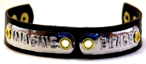 "Custom COSMIC IMPRESSION Leather Bracelet - TWO WORDS - NB2 - Narrow 3/4"" - TWO PLATES"
