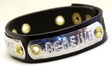 "Custom COSMIC IMPRESSION Leather Bracelet - THREE WORDS - NB3 - Narrow 3/4"" - THREE PLATES"