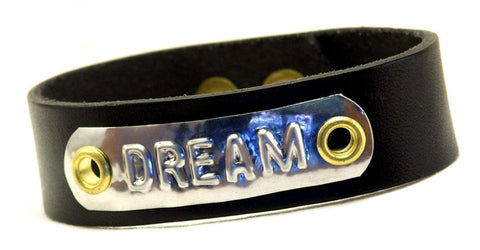 "Custom COSMIC IMPRESSION Leather Bracelet - ONE WORD - NB1 - Narrow 3/4"" - 1 PLATE"
