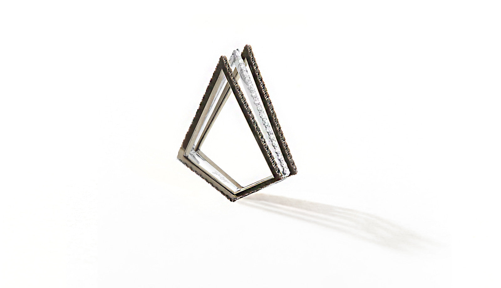 Sophie Birgitt Jewellery LOVE TRIANGLE 18K Gun Metal Black & White Gold