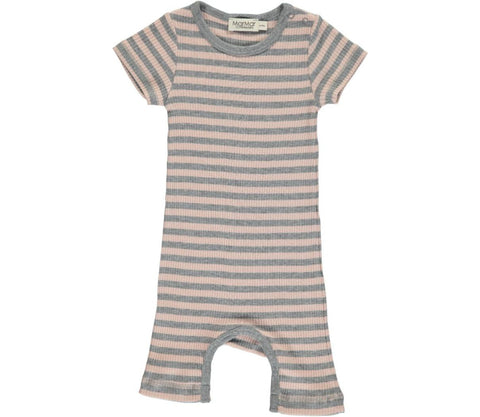 Modal Stripes Summer Rompy, Cameo Rose / Grey Melange - MarMar