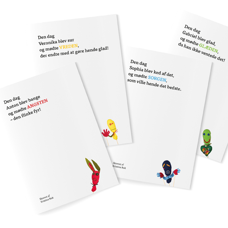 For kids: 4 work and dialogue books · Danish version