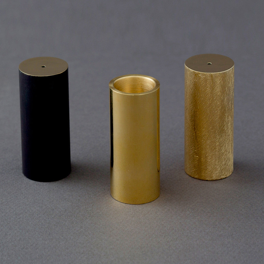 Patinated crossfiled brass candle ~ inscense holder