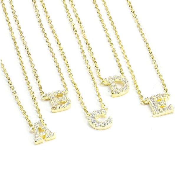 Gold Initial Pave Necklace