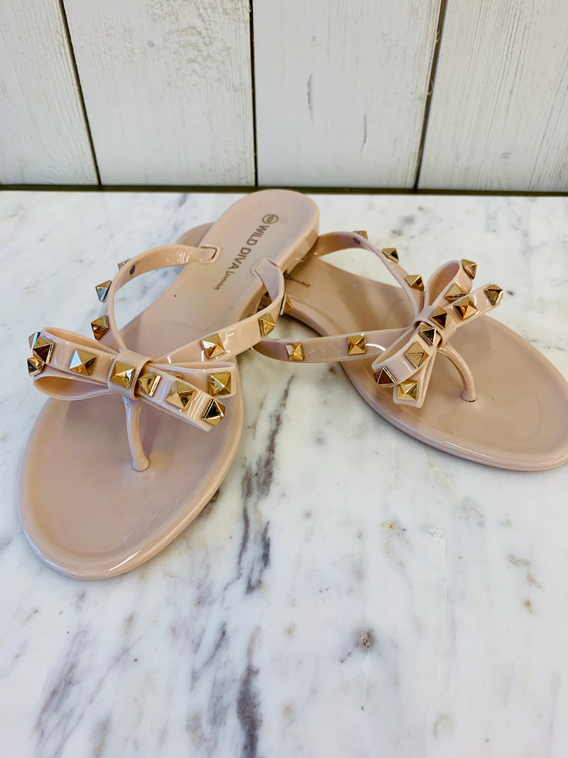 Royal Bow Sandals Nude- FINAL SALE