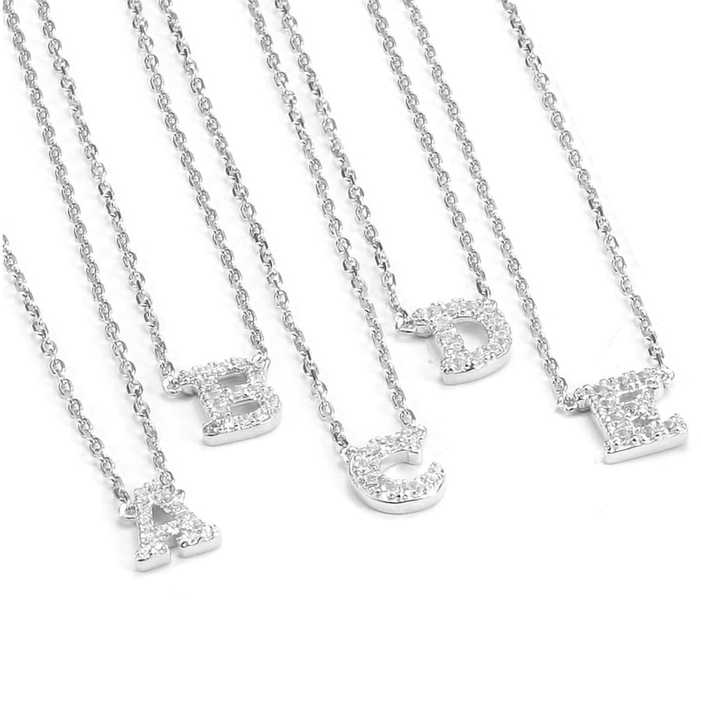 Silver Initial Pave Necklace