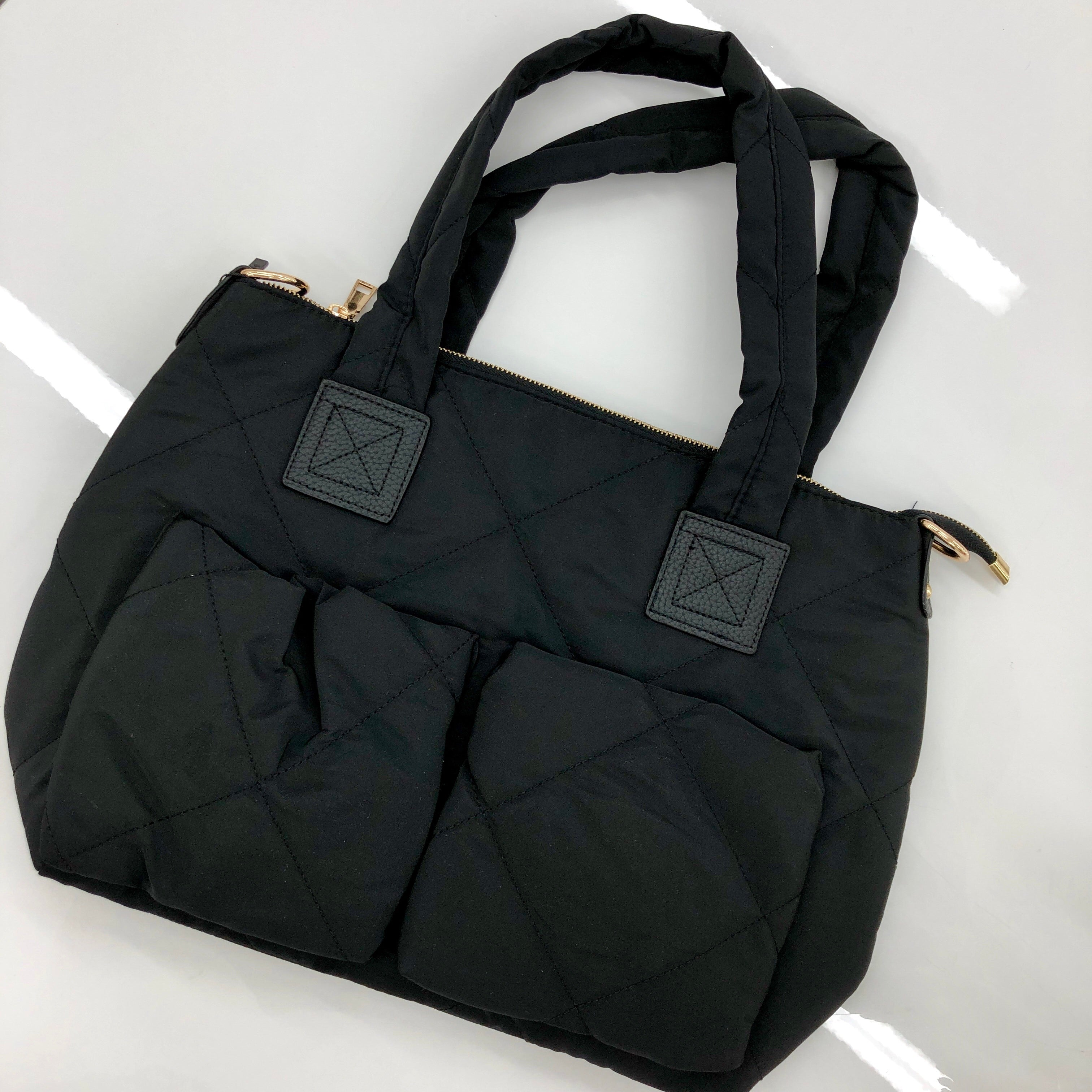 Abbey Rose Black Quilted Bag