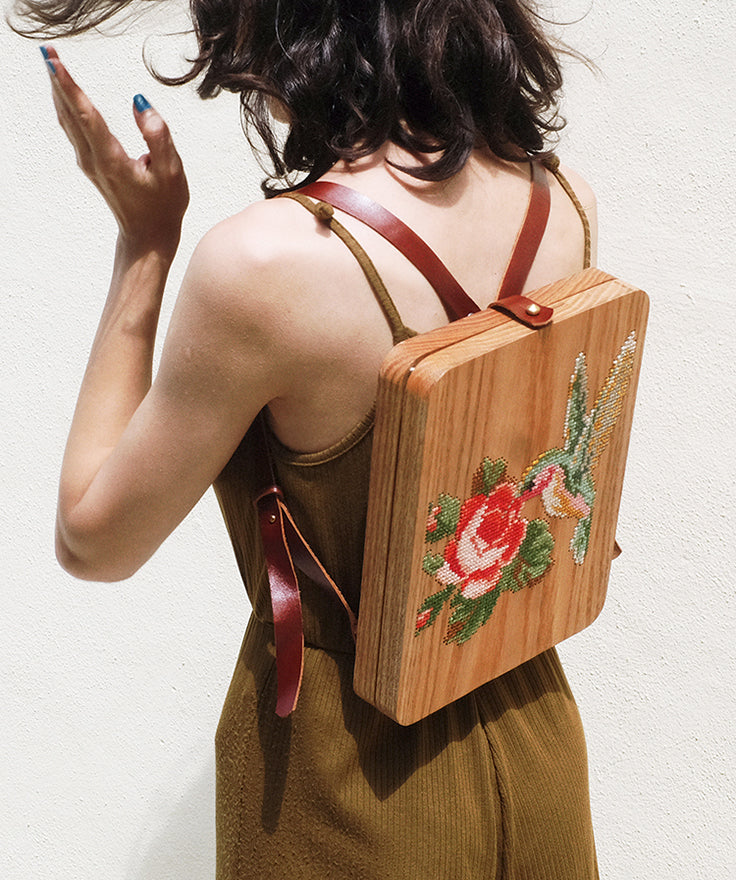 Hummingbird Stitched Wood Backpack by GRAV GRAV