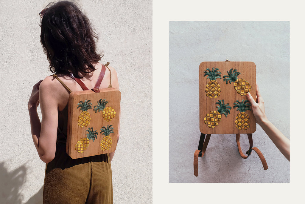 Pineapple Stitched Wood Backpack by Grav Grav