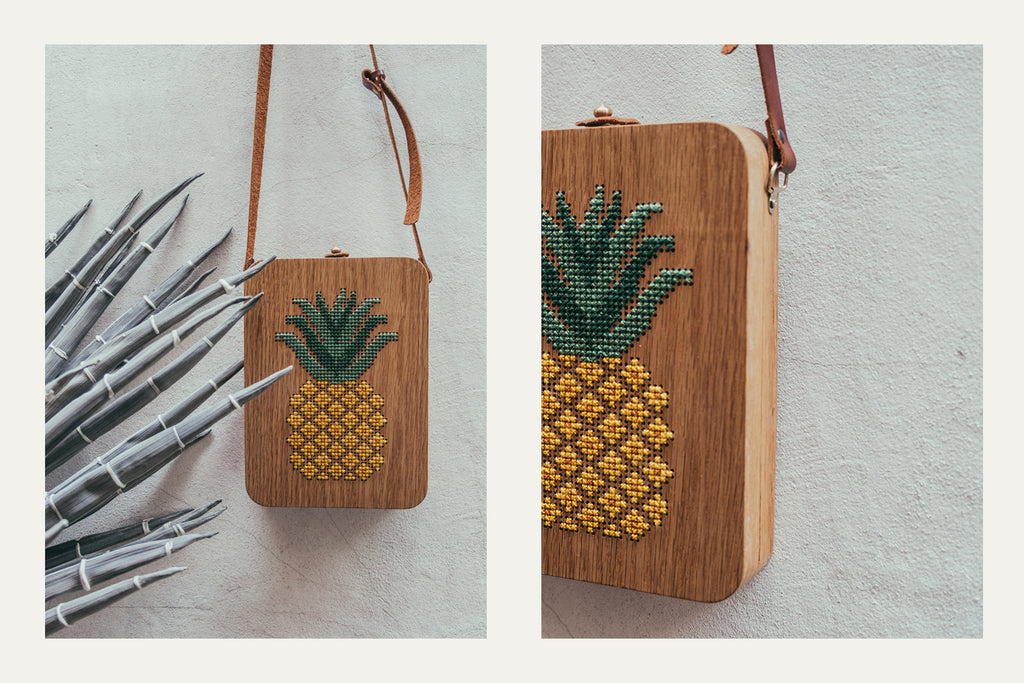Pineapple Stitched Wood Bag by Grav Grav