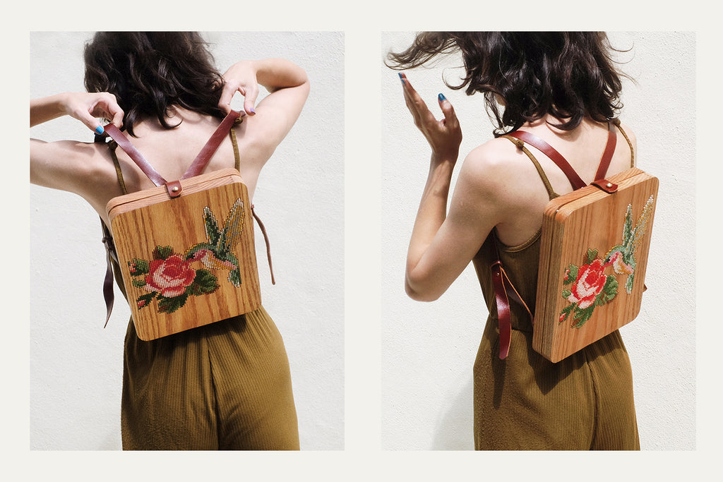 Rose and Bird Wood Backpack by Grav Grav