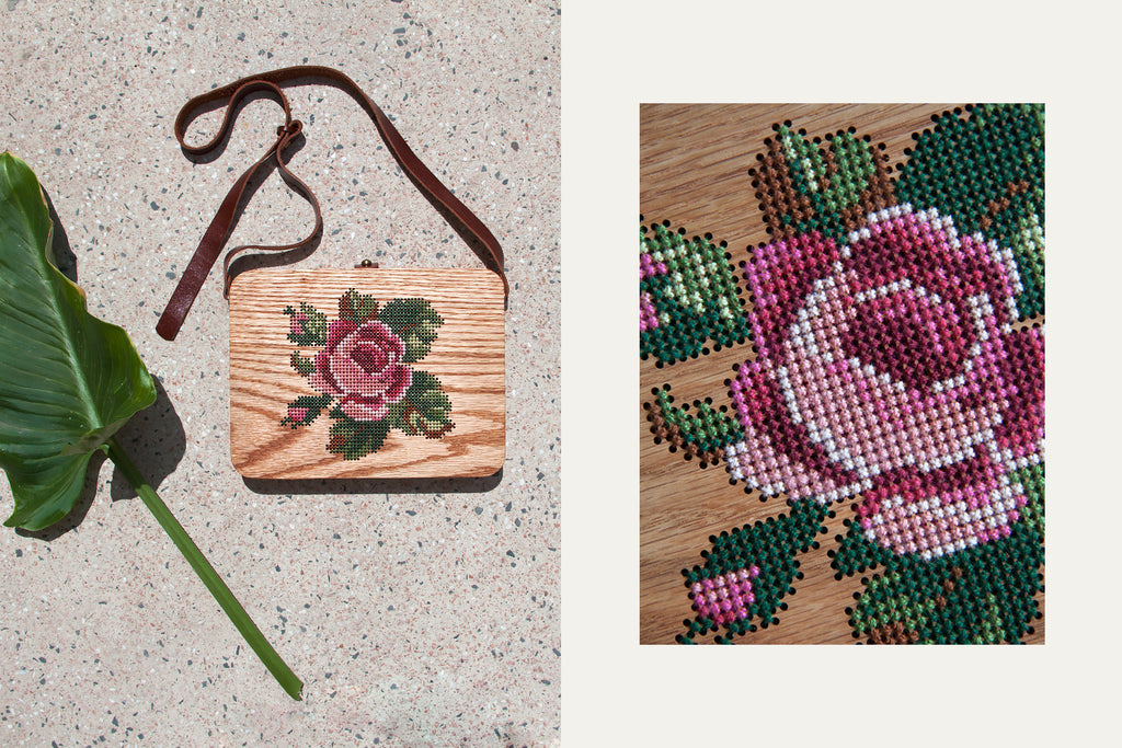 Rose Stitched Wood Bag by Grav Grav
