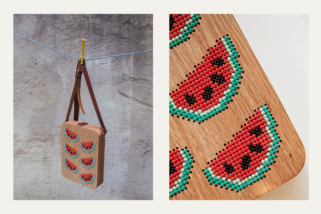 Watermelon Stitched Wood Bag by Grav Grav