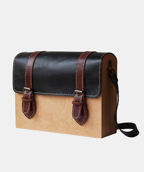 GRAV GRAV - Black/Brown Satchel Wood Bag $140