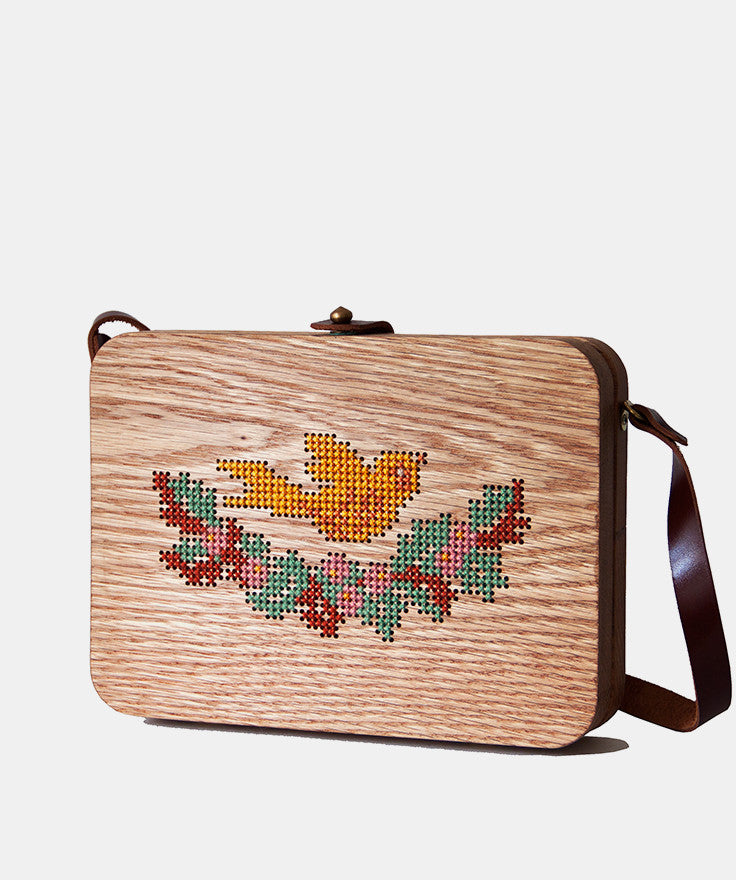 Bird Cross Stitched Oak Wood Bag by Grav Grav $205