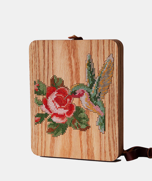 Rose and Bird Cross Stitched Oak Wood Backpack by Grav Grav $880