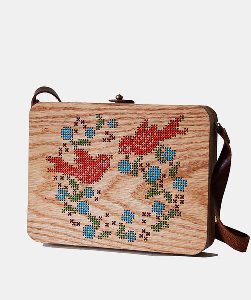 Bird Cross Stitched Oak Wood Bag by Grav Grav $410