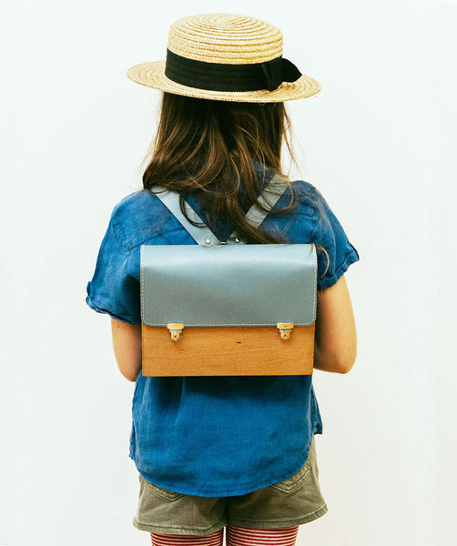 Blue Kids Wood Backpack - GRAV GRAV