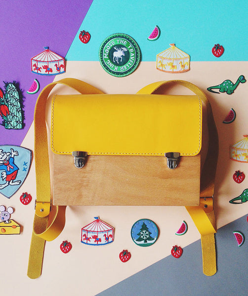 Yellow Kids Wood Backpack - GRAV GRAV