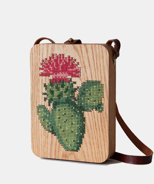 Cactus Cross Stitched Oak Wood Bag by Grav Grav $510