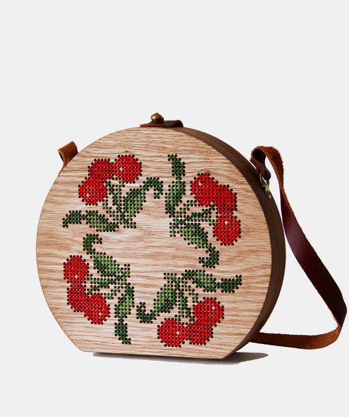 CHERRY STITCHED WOOD BAG - GRAV GRAV