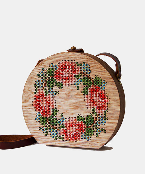 ROSE CROWN STITCHED WOOD BAG - GRAV GRAV