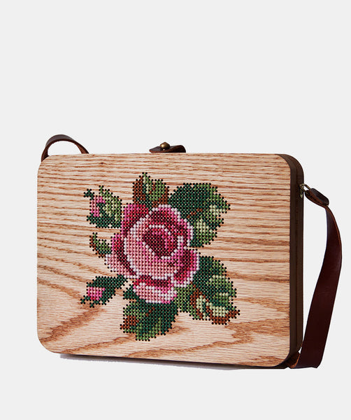Rose Cross Stitched Oak Wood Bag by Grav Grav $480