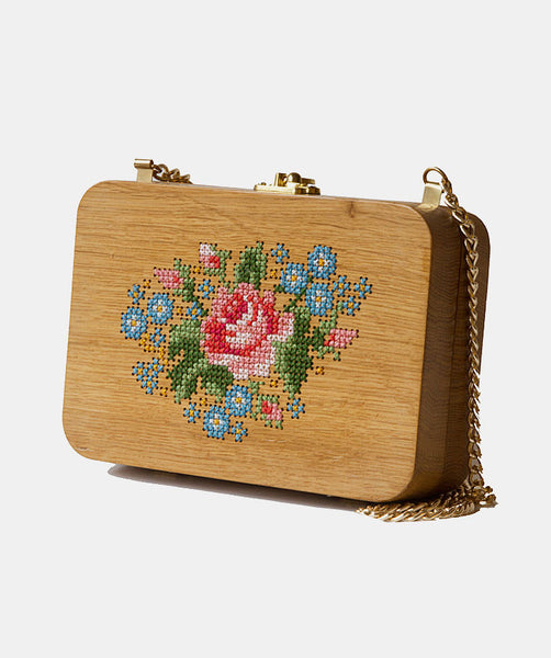 Rose Stitched Wood Purse - GRAV GRAV